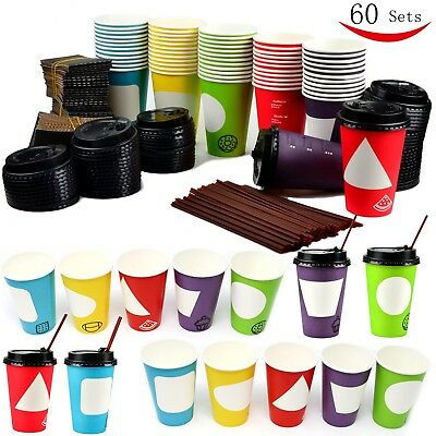12 Oz 60 Set Coffee Cups Disposable Paper Coffee Mugs w/Lids Sleeves Stirrers