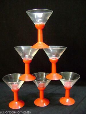 Service of six glasses glass and abs 70's -third vintage series