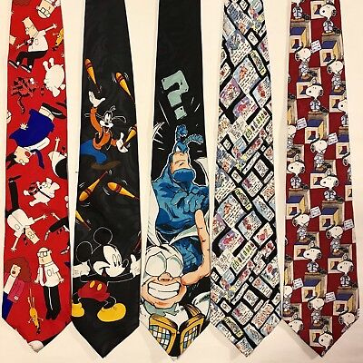 5 Mens Ties The Tick Dilbert Mickey Mouse Snoopy Comic Strip Cartoon Vtg Tie Lot