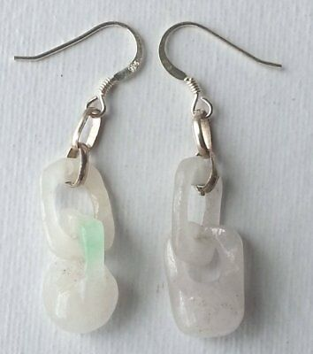 Pair of Vintage Chinese Hand Carved Jade Earrings circa 1960s