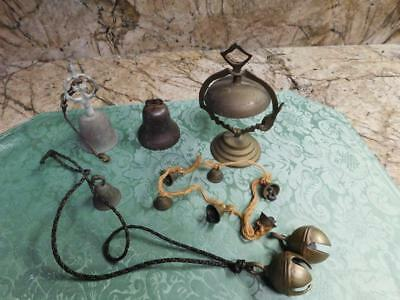 Antique Vintage Assortment Of Bells ,petal,desk,india Sarna,jingle Brass Metal