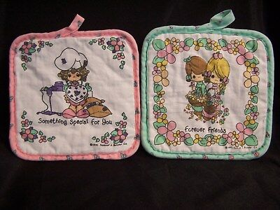 """PRECIOUS MOMENTS POTHOLDERS (2) 7-1/2"""" X 7-1/2""""  washed once 1991 S.J. Butcher"""