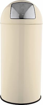 HOME 30L Cream Metal Retro Look Round Push Top Bin -From Argos ebay V101159