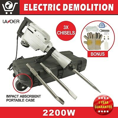 LAYOER 2200W Jackhammer Demolition Jack Hammer Commercial Demo Chisel Concrete