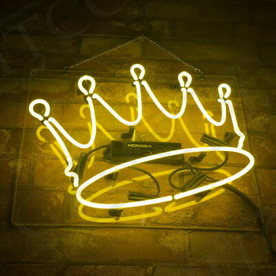 "15""x11""Crown Neon Sign Light Beer Bar Pub Party Decor Home Room Wall Poster Gift"