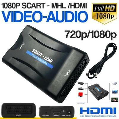 1080P Scart To HDMI Scaler Converter Audio Video Adapter for DVD HDTV Power Plug