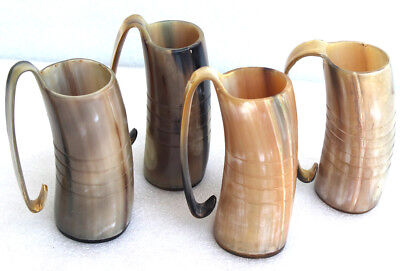 Set of 4 Hand crafted drinking horn with handle for wedding viking theme part