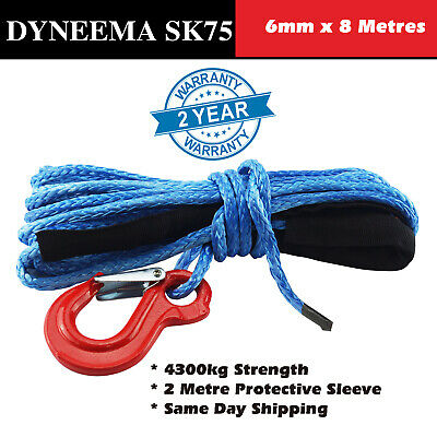 6MM X 8M Dyneema Hand Winch Rope SK75 Marine Boat Car Tow Recovery Blue