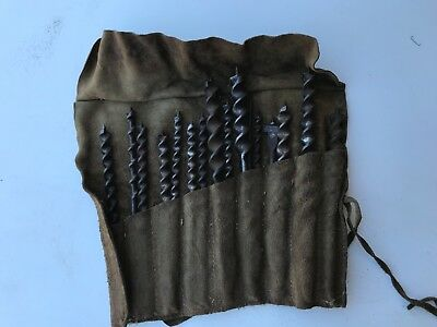 Antique Carpenters Woodworking 14 pce Auger bits in leather pouch (C19F)