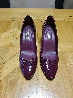 Authentic Chanel Patent Leather Burgundy Pumps Shoes Heels