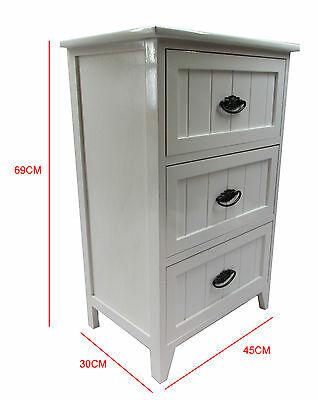New White Gloss Wooden Small 3 Drawer Bedside Table /Cabinet Storage Cupboard