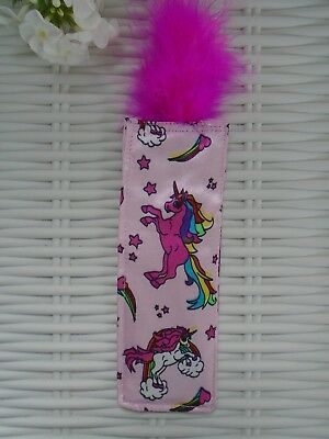 Unicorn Bookmark Fabric With Pink Feather Unicorns Books Magical Creature Gift