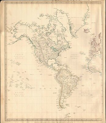 1844 Antique Map- Sduk - World On Mercator's Projection, 2 Separate Maps