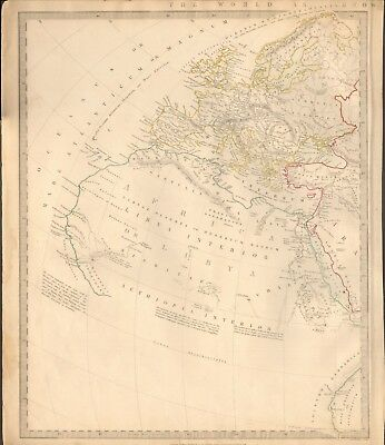 1844 Antique Map- Sduk - World As Known To The Ancients, 2 Separate Maps