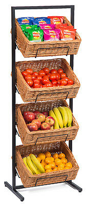 Wicker Baskets Display Floor Stand