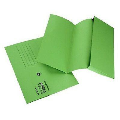 GREEN A4 FOOLSCAP CARDBOARD ENVELOPE FILING DOCUMENT WALLET FOLDERS 50 Pack