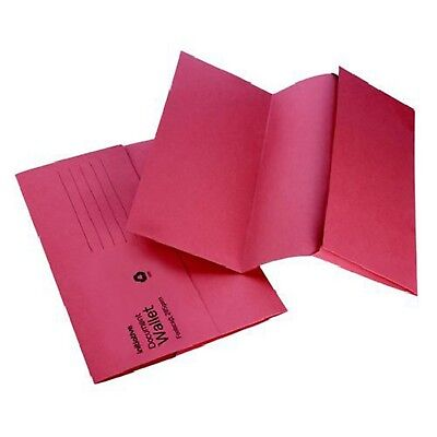 RED A4 FOOLSCAP CARDBOARD ENVELOPE FILING DOCUMENT WALLET FOLDERS 50 Pack