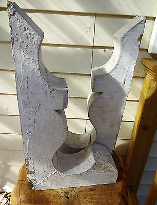 Antique Large Wood Architectural Salvage Chippy Painted Brackets Corbels NO RSEV