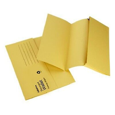 YELLOW A4 FOOLSCAP CARDBOARD ENVELOPE FILING DOCUMENT WALLET FOLDERS 50 Pack