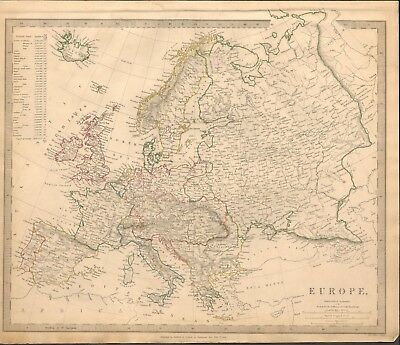 1836 Antique Map- Sduk - Europe, With Table Of Populations