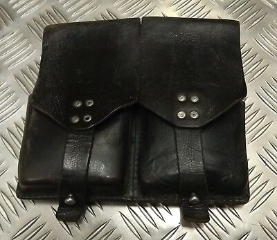 Genuine Vintage Military Issued Double Leather Utility / Ammo Small Pouch Used