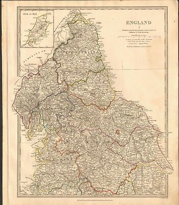 1831 Antique Map- Sduk - England, North, Yorkshire, Cumberland,durham,lancashire
