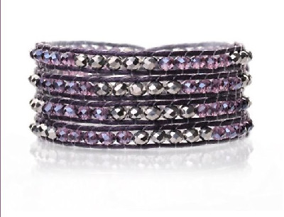 TreasureBay FAB Wrap Bracelet Silver and Purple Crystal Hand Knotted 4-Wrap