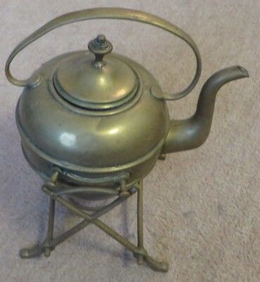 Antique Arts and Crafts Brass Kettle and Stand
