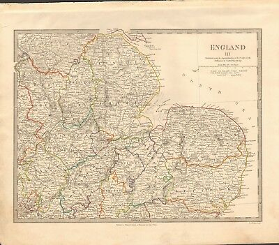 1831 Antique Map- Sduk - England Iii, Eastern, Lincolnshire, Norfolk, Suffolk,wa