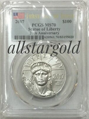 2017 $100 American Platinum Eagle PCGS MS70 FDI Label 20th anniversary  pop 472