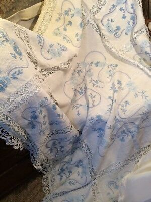 Embroidered Edwardian Lace Linen Bedspread Throw 70x60 Inches. Blue/white