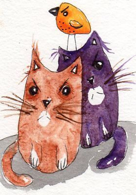 ACEO Original Painting Cats illustration Whimsical Art by FAiRyPiGGleS