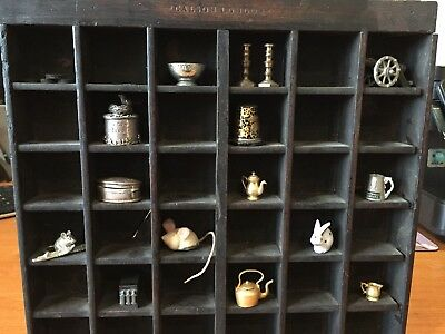 Vintage Print Tray - printers wooden  display including 15 miniatures