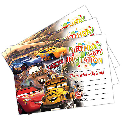 Disney Cars 3 Birthday Party Invitations