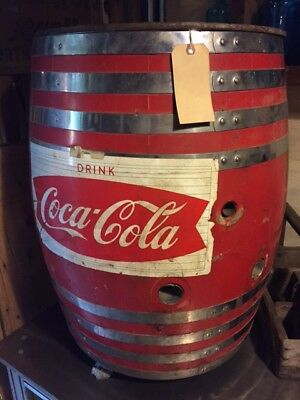 Vintage 1950's Large Coca Cola Red Oak Barrel Dispensor with claw feet