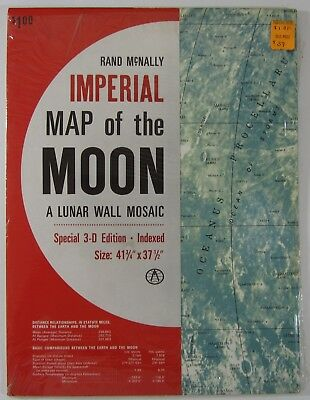 Imperial Map of the Moon Lunar Wall Mosaic NASA Apollo Rand McNally Sealed 1968