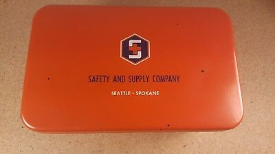 Vintage Safety and Supply Company Seattle - Spokane Orange Metal First Aid Kit
