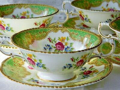 "Antique English Paragon""Honiton ""Green Rare  Soup Cup and Saucer"