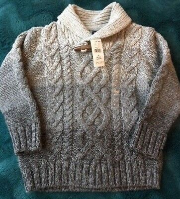 Gap Kids Cable Knit Sweater Shawl Collar Wool Blend Pullover