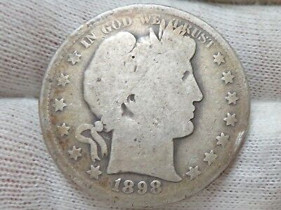 1898 S silver Barber Half Dollar and free shipping