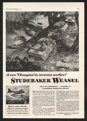 Original 1944 Canadian Studebaker ad Weasel Army's Cargo Carrier WWII Canada