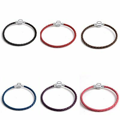 Silver Clasp Leather Woven Braided Cord Bangle Bracelet DIY 4 European Charms