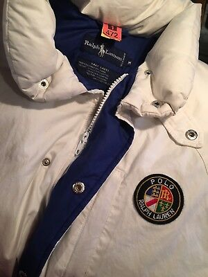Vintage POLO Ralph Lauren Down Ski Jacket M Cookie Patch Puffer snow beach usa