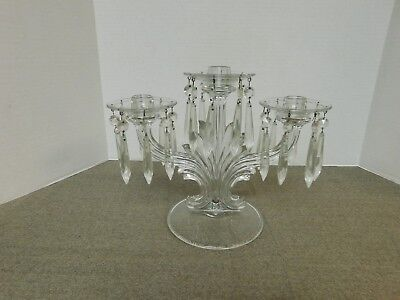 Vintage Clear Glass 3 Candle Candlelabra with Glass Prisms