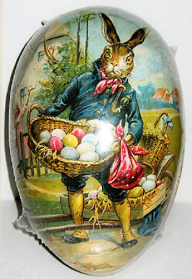 """Vintage Paper Mache EASTER EGG (4.5x3"""") STOIC HARE Mint/Sealed GERMAN Made"""