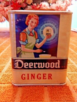 Vintage DEERWOOD GINGER Cardboard & Metal Spice Tin - beautiful