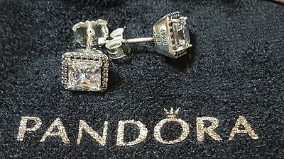 Pandora Timeless Elegance Stud Sterling Silver Earrings. S925 ALE with BOX