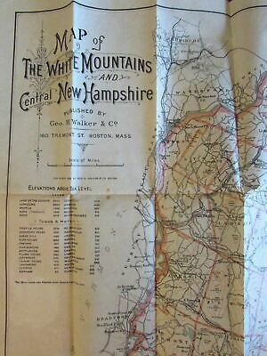 White Mountains New Hampshire 1893 old Tourist map folding pocket color