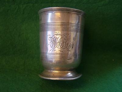 "Victorian 1/2 Pint Pewter Beaker engraved  ""CANTERBURY ARMS"""