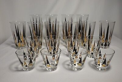 """18 VTG Black Gold """"Atomic Arrow"""" Glass Tumblers Bar Ware (4 Different sizes)"""